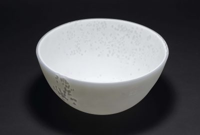 "Title: ""Dense White Opaline Vessel  #0415"" Materials: Opalescent and Opaline Glass Dimensions: Dia. 27cms x 12cms Deep Technique: Kiln-formed, diamond engraved and fire-polished. Price: £4015 GBP"